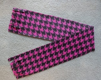 Pink and Black Houndstooth Scarf