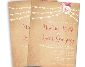 Rustic, String lights, floral Wedding Invitations & Blank Thank You Card to match