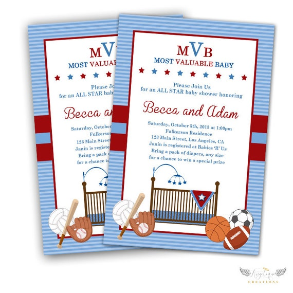All Star Baby Shower Invitations & Blank Thank You Card to match