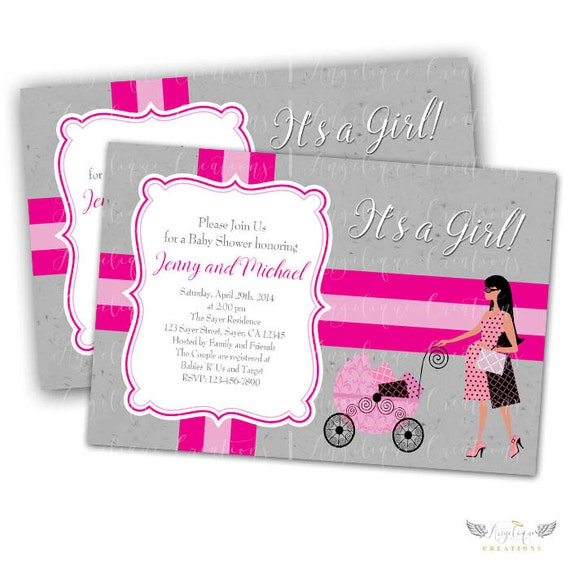 Diva Baby shower Invitations & Blank Thank You Card to match
