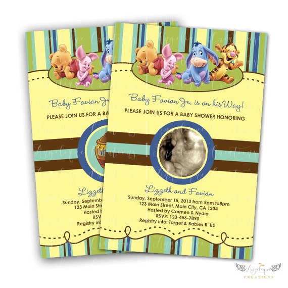 Baby Winnie The Pooh Baby Shower Invitations for Boys & Blank Thank You Card to match