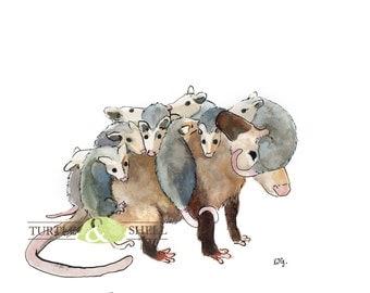 Watercolor Opossum Family 8x10 Print