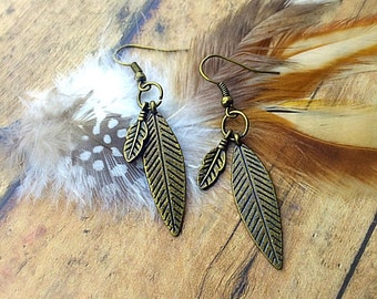 Bronze Colored Feather and Leaf Charm Earrings