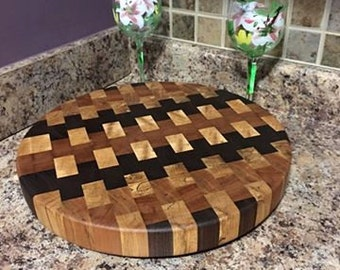 Handmade End Grain Multi Color Butcher Block Round Wood Cutting Board