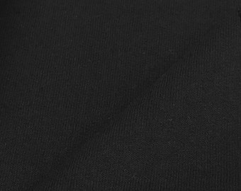 Cotton Blend Fleece Fabric By the Yard (Wholesale Price Available By The Bolt) USA Made - 8020 Black - 1 Yard