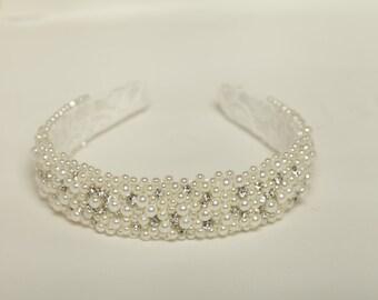 Sparkly headband Pearl rhinestone beaded headband Wedding beaded headband Bridal headband Rhinestone bridal crown Pearl wedding headband
