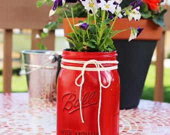 Quart Mason Jar painted RED!