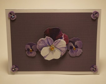 Handmade Purple Pansy Card