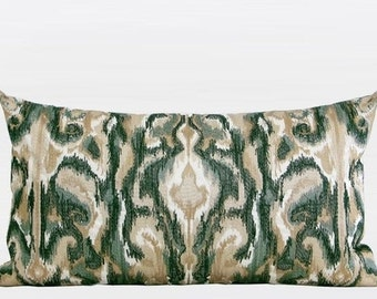 "Luxury Green European Classical Pattern Embroidered Pillow Cover 12""X22"""