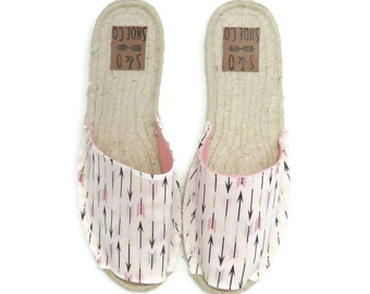 Womens arrow print espadrilles - womens sandals - womens shoes - womens espadrilles - monogram