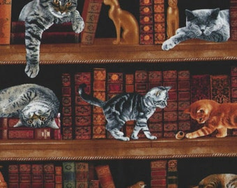 Cats, Kittens, and Books Fabric...Library Books Cats Shelves Cotton Quilt Fabric Timeless Treasures 2863.
