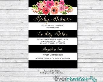 Baby Shower Invite | Kate | Watercolor | Gold | Black and White | Stripes | Custom | Printable Invitation