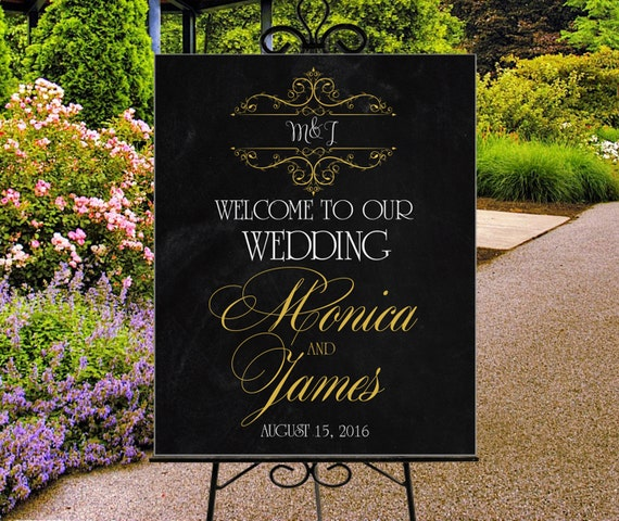 Wedding Welcome Sign Printable Personalized Sign Gold And