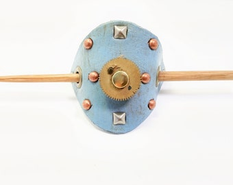 Blue leather cog hair pin