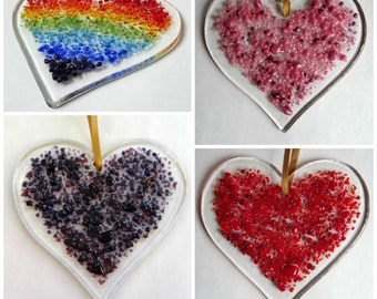 Fused glass heart light catcher decoration - choice of colours