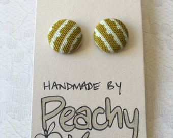 15mm Khaki Bunting Fabric Earrings