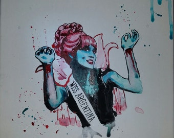 Miss Argentina - Beetlejuice painting on canvas