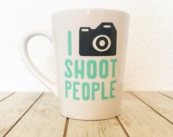 Photographers Coffee Mug, I Shoot People Camera Mug, Photographer Thank You Gift, Camera Man Coffee Cup, Funny Photographer Gift