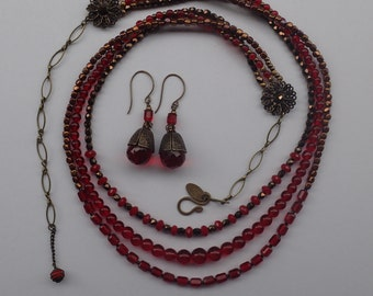 Three Strand Graduated Red Crystal / Japanese Glass Bead Necklace