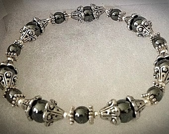 Homemade Stretch Silver Plated Bead Bracelet
