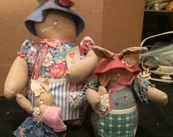 Set of Vintage Rabbit Dolls - Collectable Creations by Judy Hoiland & Charlotte Colistro Brown 1992