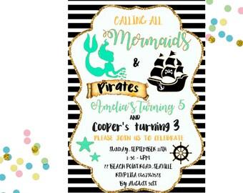 Mermaid and Pirate Invitation, Mermaid and Pirate Birthday Invitation, Pirate and Mermaid Invitation, Sibling Birthday Invitation