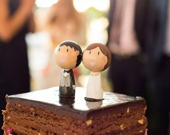Custom Handpainted Kokeshi Dolls Wedding Cake Topper