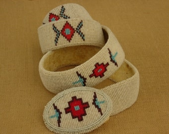 Native American Beaded Belt and Buckle