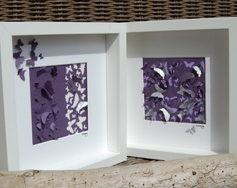 "Butterfly picture ""Emily"", 3D framed (purple and lilac)"