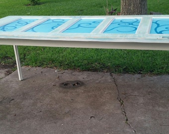 Repurposed Upcycled Antique Farmhouse Door Dining Table