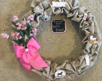 Baby Girl Wreath-It's a Girl-Burlap Wreath-Lace-Pink & White-Gift-Baby Shower-Chalkboard-Bows-Pearls- Carriage-Bottles-Hearts-Rocking Horse