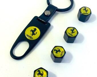 Ferrari KeyChain KeyRing Wrench and Valve Caps - Car Keyring, Car Keychain, car accessories,  Spider, California, speciale, f12berlinetta