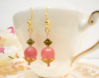 Beautiful pink natural stone dangle earrings on antique gold finish