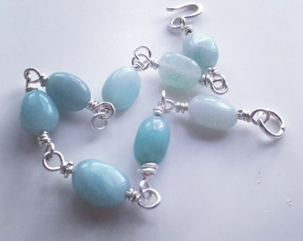 Pale Blue aquamarine ,925 silver ,March birthstone bracelet