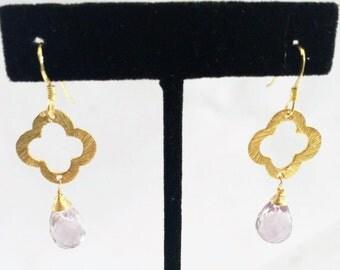Amethyst Gemstone in Gold Filled Earrings