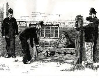 Pen & Ink Drawing, A4 - In The Stocks