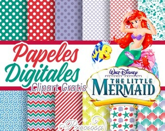 12. the Little Mermaid digital papers + 11 Clipart PNG free
