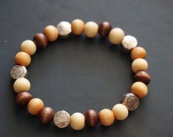Wooden Beaded Bracelet with Silver Accent Beads