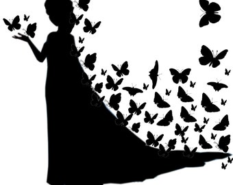 Elza silhouettes with butterflies