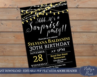 Surprise Birthday Invitation, Adult Party Invitation, Surprise Party Invitation, Adult Party Invitation, Self Editable PDF, Instant Download