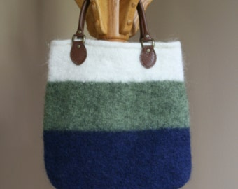 Navy blue, green and white  wool felt tote bag