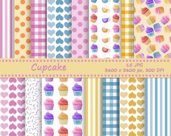 Cupcake digital paper pack - 15 printable jpeg papers, 3600x3600 px, 300 dpi - Printable backgrounds - cupcake background