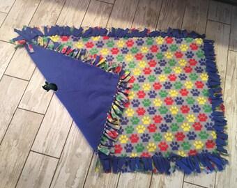 44 x 28 Hand Tied Colorful Paw Print Fleece Pet Blanket