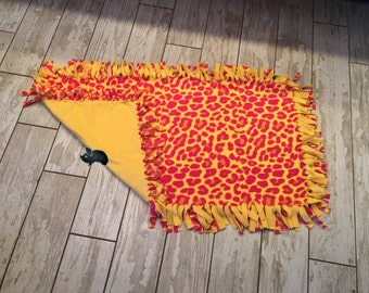 39 x 22 Hand Tied Pink/Yellow Fleece Pet Blanket