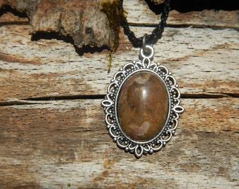 Rhodonite on Medallion silver Baroque necklace