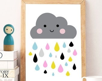 Colorful cloud prints, Cloud wall decor, Nursery wall art, Cute art, Kids room art, Art for kids, Home decor, sweet cloud, wall art prints