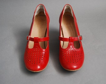 Red Mary Jane swing-style heels