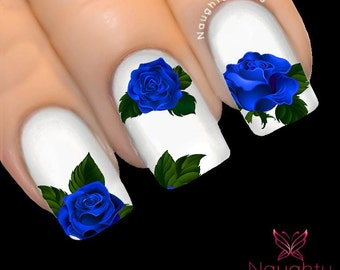 MAJESTIC MIDNIGHT Blue Rose Nail Water Transfer Decal Sticker Art Tattoo NNF-106