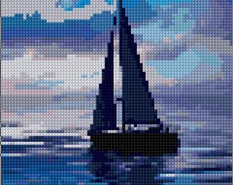 Sailing Boat Colour Cross Stitch Chart