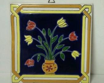 Vintage Handmade/Hand Painted Greek Ceramic Tile Trivet 1980 Garden